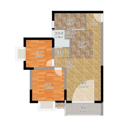 兴豪门2室1厅3卫1厨93.00㎡户型图