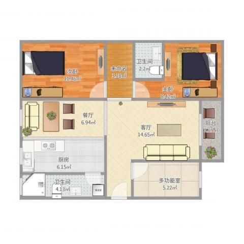 罗村花苑2室2厅2卫1厨88.00㎡户型图