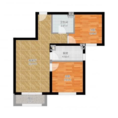 北京汇星苑2室1厅1卫1厨78.00㎡户型图