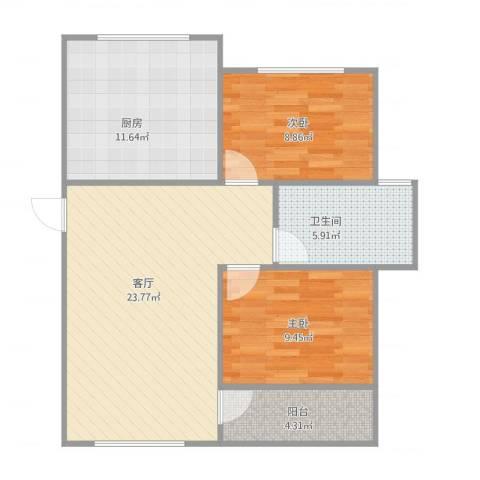 帝欧花园44-4-2012室1厅1卫1厨86.00㎡户型图