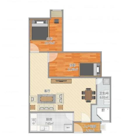 蓝天新苑2室1厅1卫1厨88.00㎡户型图