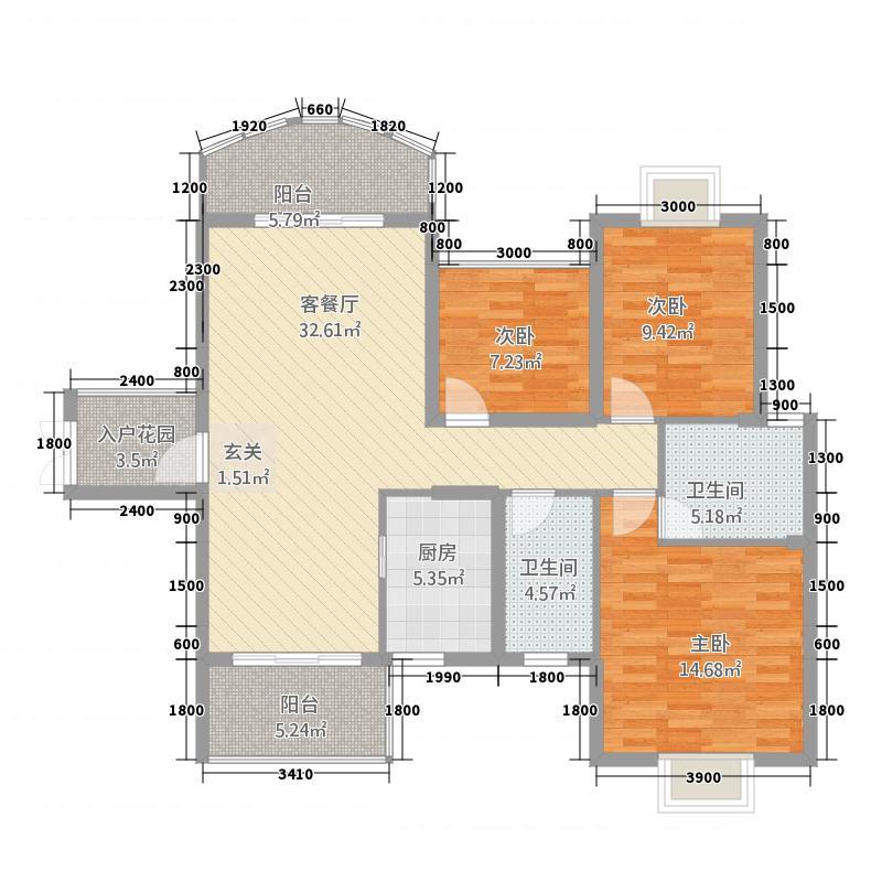 荣顾购物公园131.12㎡钻石园3#1单元023室户型3室2厅2卫