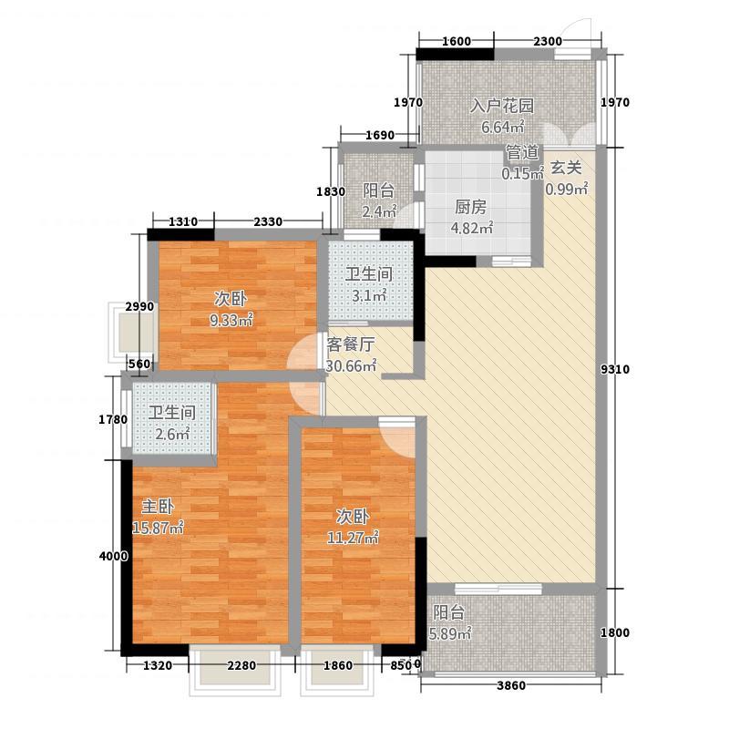 恒昌格兰郡13113.20㎡1期3栋、4栋标准层D3户型3室2厅1卫1厨