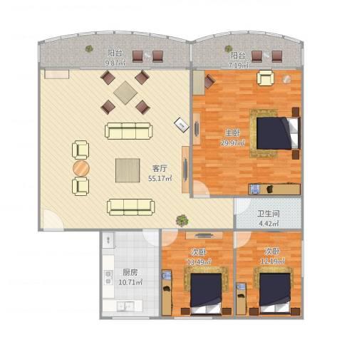 怡海大厦3室1厅1卫1厨189.00㎡户型图