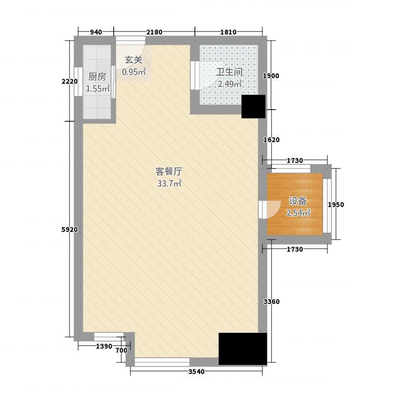 星河国际公馆57.20㎡B户型1室1厅1卫1厨