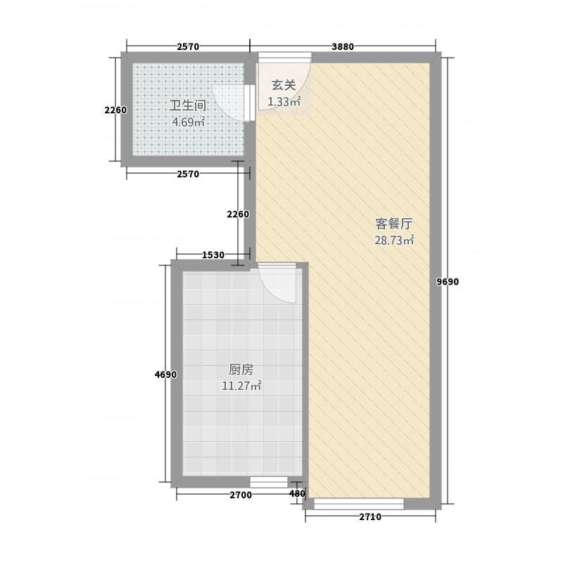 星河国际公馆63.20㎡C户型1室1厅1卫1厨