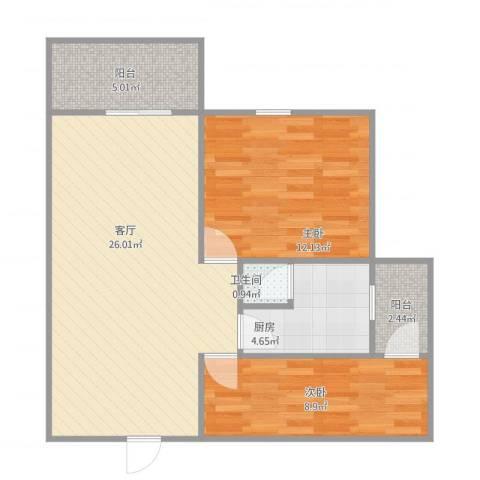 佛山保利花园二期2室1厅1卫1厨81.00㎡户型图
