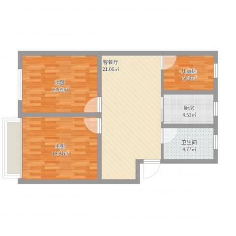 长江花园3室1厅1卫1厨90.00㎡户型图
