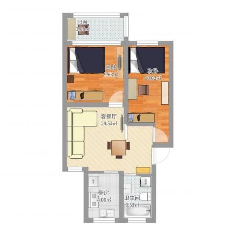香山新村西北街坊2室1厅1卫1厨67.00㎡户型图