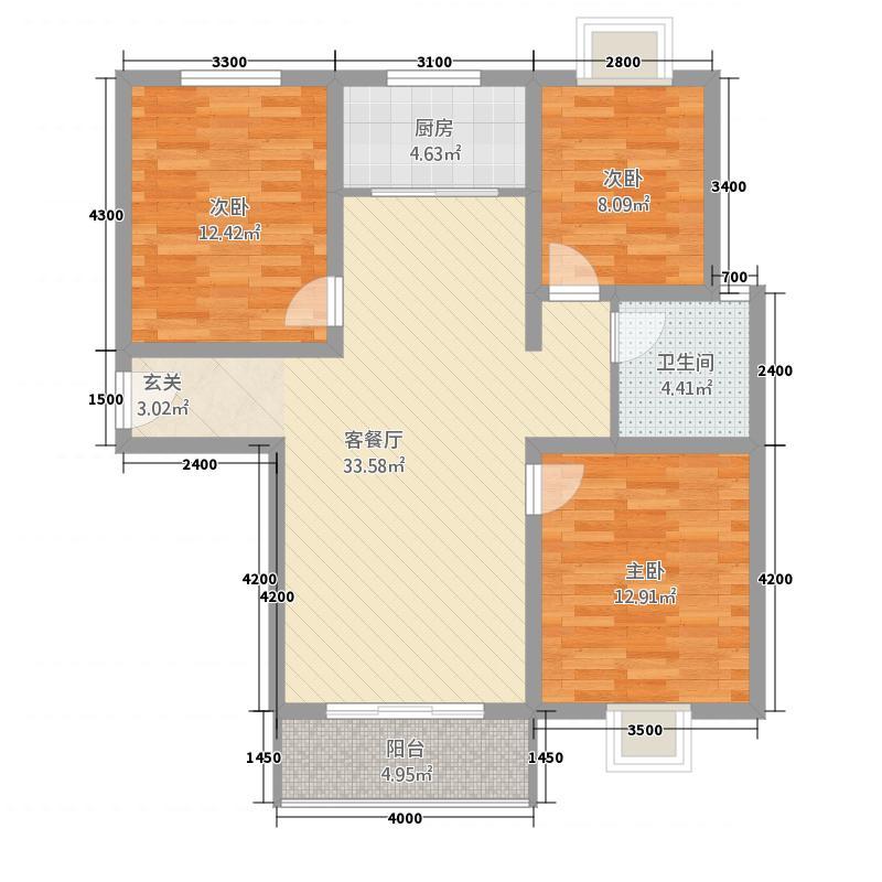 九洲・阳光新城28.24㎡2_副本户型3室2厅1卫1厨