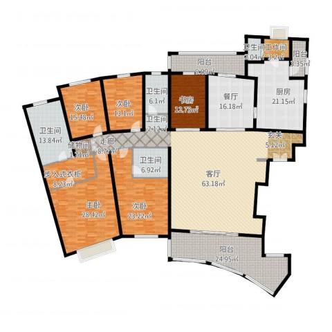 静安兴海城5室2厅4卫1厨401.00㎡户型图