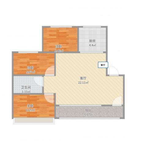 帝欧花园6-1-6023室1厅1卫1厨72.00㎡户型图