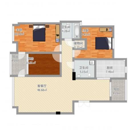 华夏海景3室1厅2卫1厨135.97㎡户型图