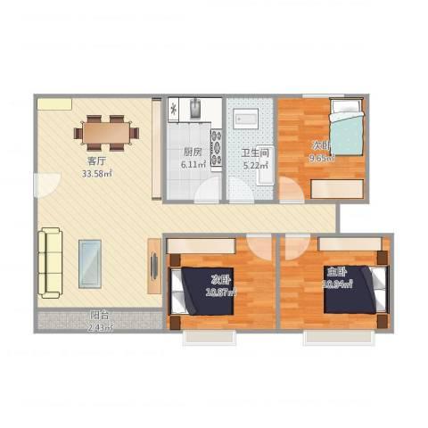 景鸿楼3室1厅1卫1厨106.00㎡户型图