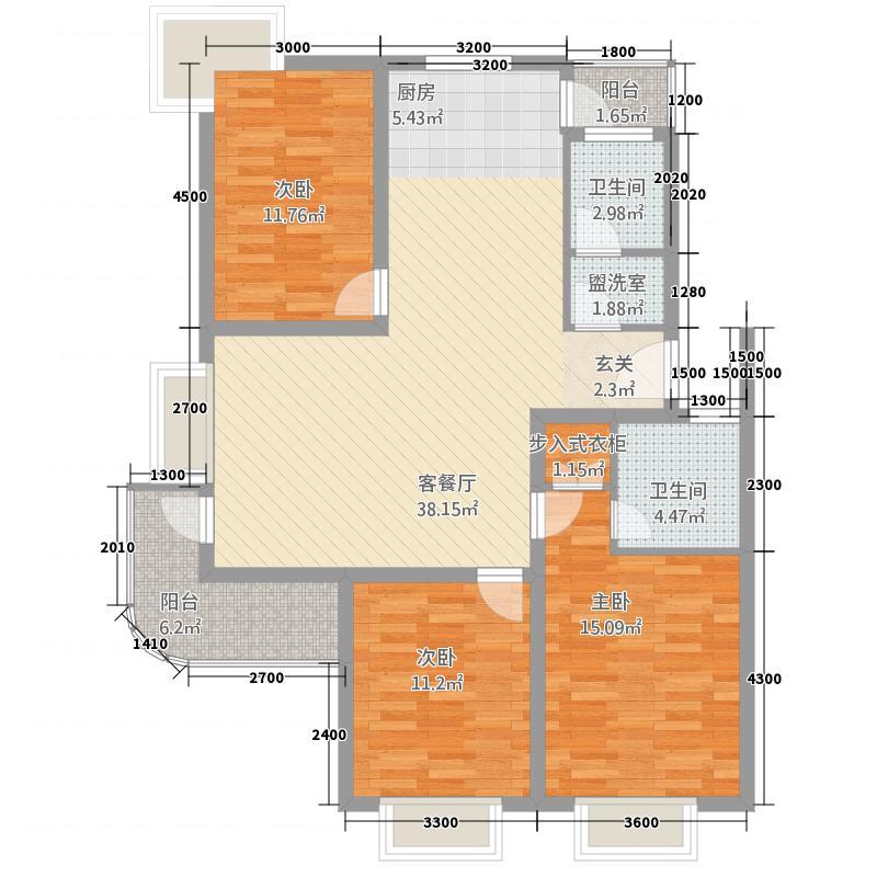 名仕嘉苑842422144.00㎡QMR户型3室2厅2卫1厨