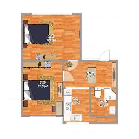华宇花园2室1厅1卫1厨63.00㎡户型图