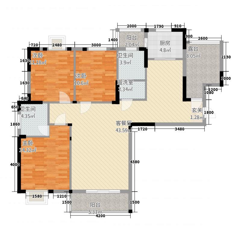 盛世东城12141.82㎡12号楼户型3室2厅2卫1厨