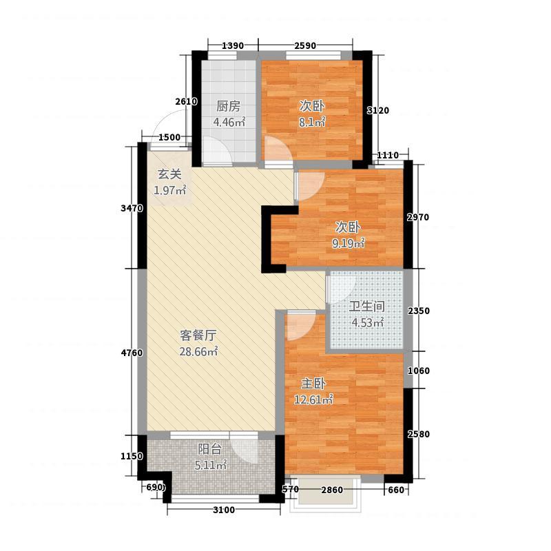 章丘唐人中心13115.20㎡C1#C3#号楼E2户型3室2厅1卫1厨