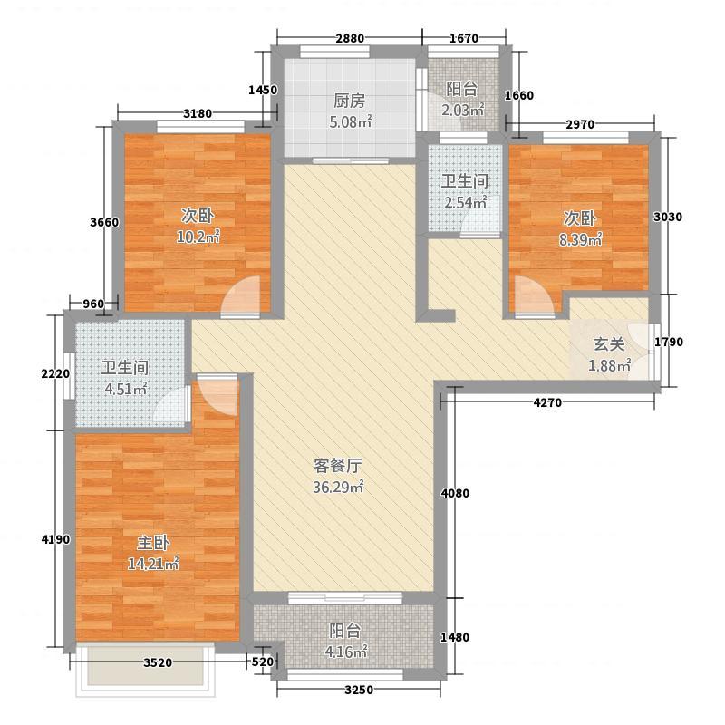 华启唐宁1�11125.20㎡华启唐宁高层C-1户型3室2厅2卫1厨