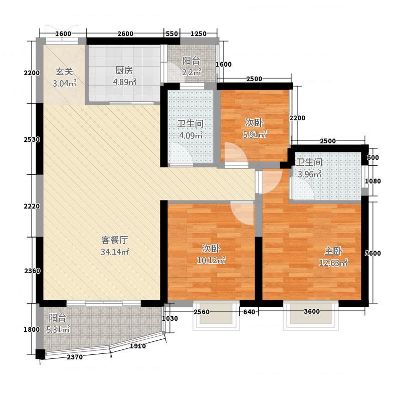 荣顾购物公园3211.24㎡户型3室2厅2卫