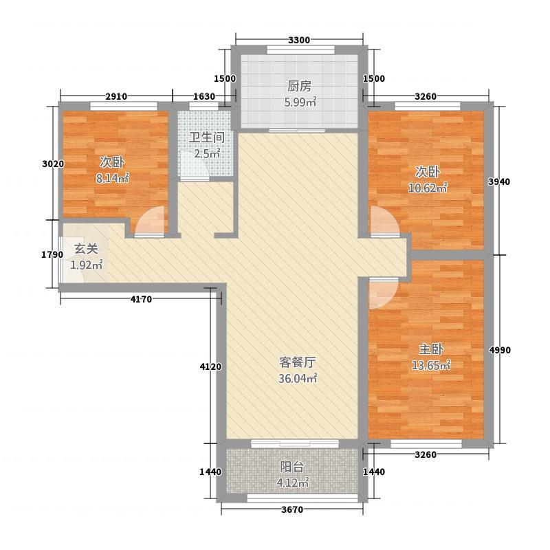 华启唐宁1�11115.20㎡华启唐宁高层B-1户型3室2厅1卫1厨