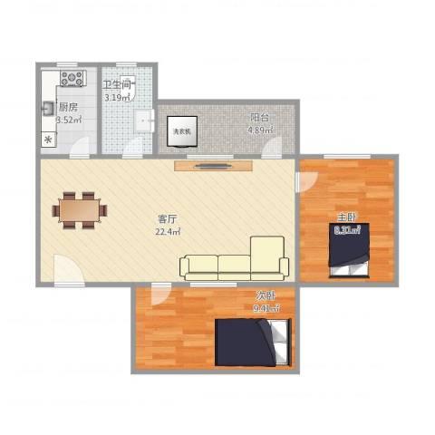 棠德花园A区H区南梯03单位2室1厅1卫1厨70.00㎡户型图
