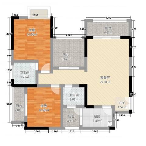 兴盈德润城2室1厅2卫1厨115.00㎡户型图