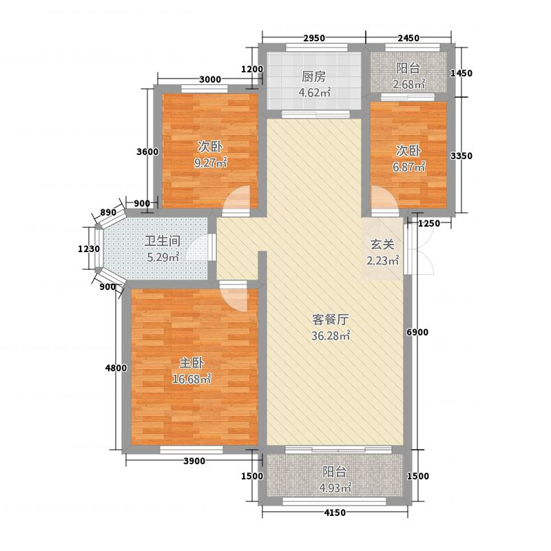 国电家园・翰林雅筑113.00㎡多层户型3室2厅1卫1厨