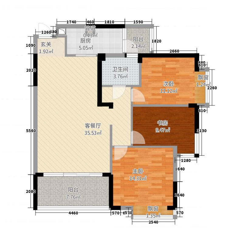 仙桃福星城2112.15㎡B2户型3室2厅1卫1厨