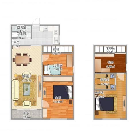 宝钢又一村0013室2厅1卫1厨115.00㎡户型图