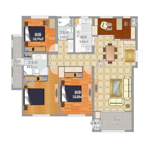 宝华家天下3室1厅2卫1厨157.00㎡户型图