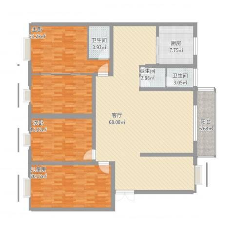 鑫源小区罗总3室1厅3卫1厨224.00㎡户型图
