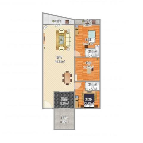 恒福湖景湾3室1厅2卫1厨156.00㎡户型图