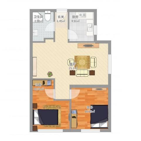 恒瑞・坦城2室1厅1卫1厨77.00㎡户型图