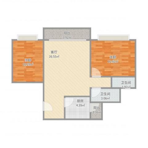 怡骏豪庭2室1厅2卫1厨88.00㎡户型图