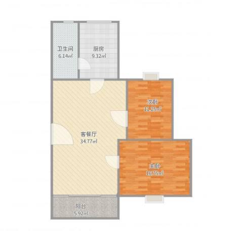 绿景华庭2室1厅1卫1厨112.00㎡户型图