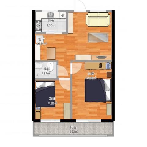 西坝河东里2室1厅1卫1厨65.00㎡户型图