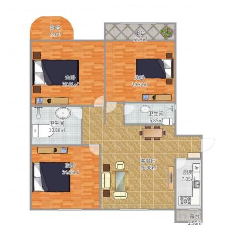 假日丽景3室1厅2卫1厨203.00㎡户型图
