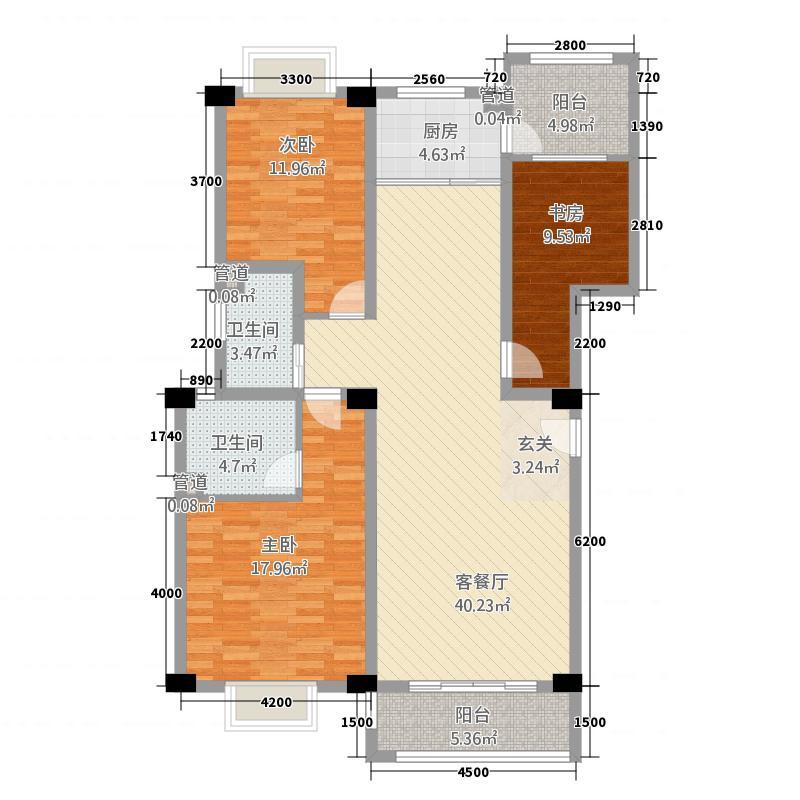 丽月湖岸32128.12㎡K户型3室2厅2卫1厨