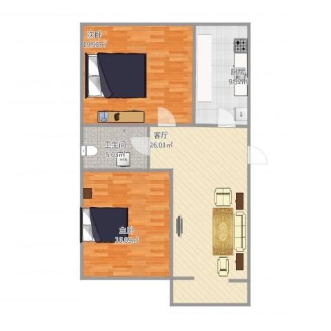 福溪家园7-3单元2居室2室1厅1卫1厨103.00㎡户型图