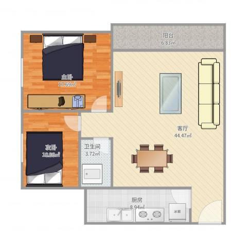 太阳园2室1厅1卫1厨123.00㎡户型图