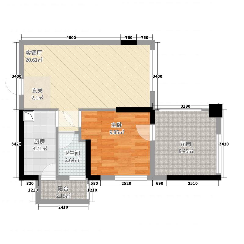 万千城6.22㎡国色天香组团6号楼标准层B1-2号房户型2室1厅1卫1厨