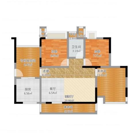 锦绣龙城八期鎏园2室1厅1卫1厨110.00㎡户型图