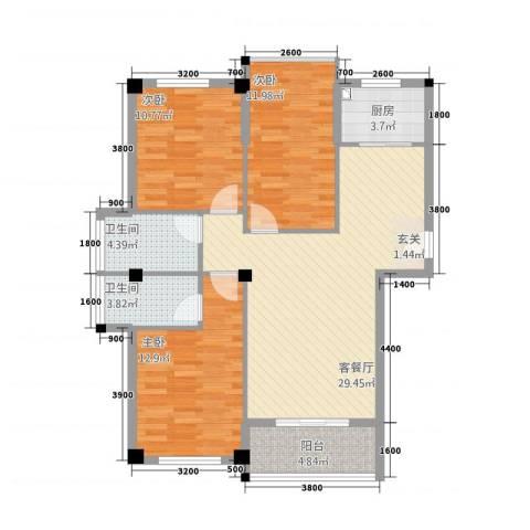 匹克奥林阳光3室1厅2卫1厨81.85㎡户型图