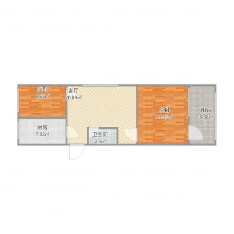 裕园公寓2室1厅1卫1厨87.00㎡户型图