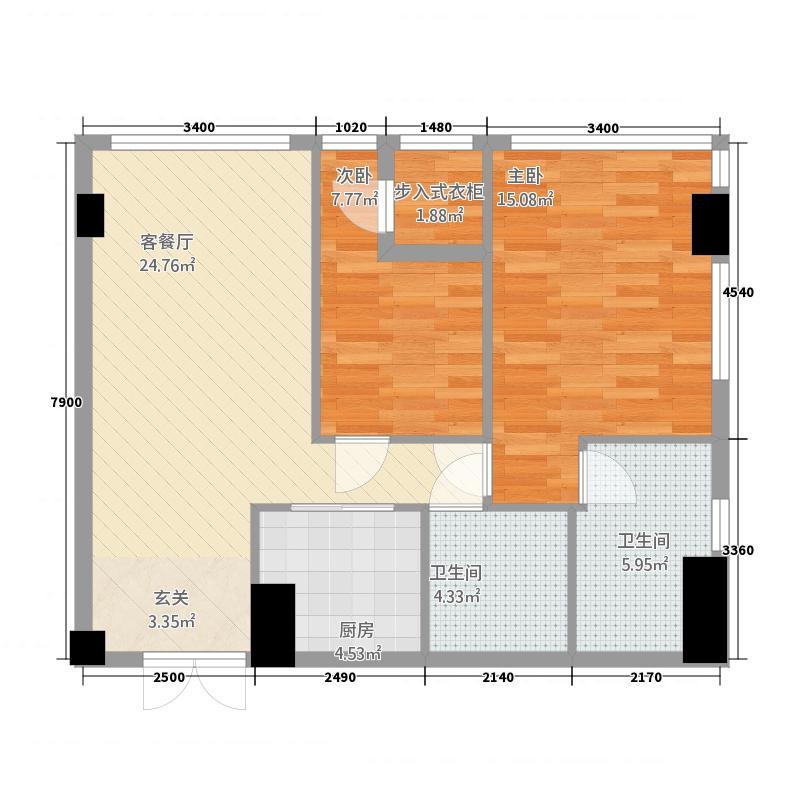 名力都会・尚东25.20㎡A2酒店式公寓户型2室2卫1厨