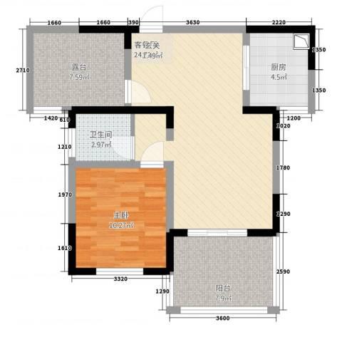高速云水湾1室1厅1卫1厨7458.00㎡户型图