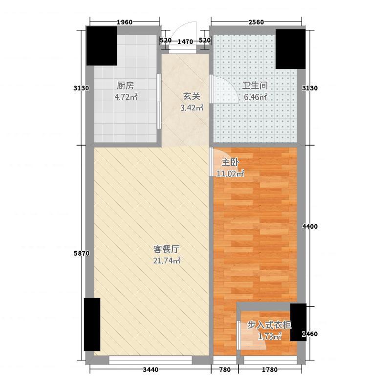 名力都会・尚东168.20㎡A1酒店式公寓户型1室1卫1厨