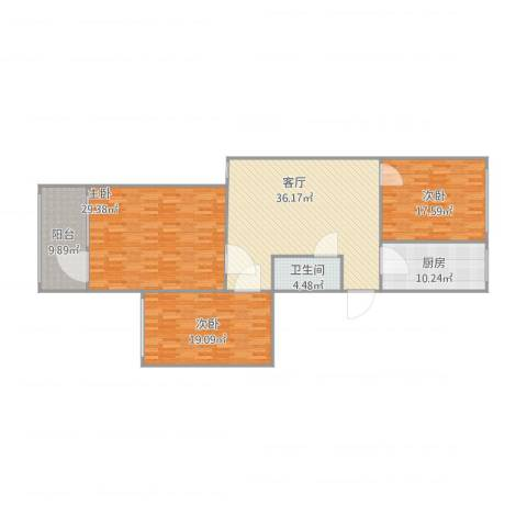 裕园公寓3室1厅1卫1厨168.00㎡户型图