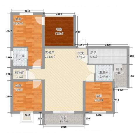 宏帆・观湖4室1厅2卫1厨74.86㎡户型图